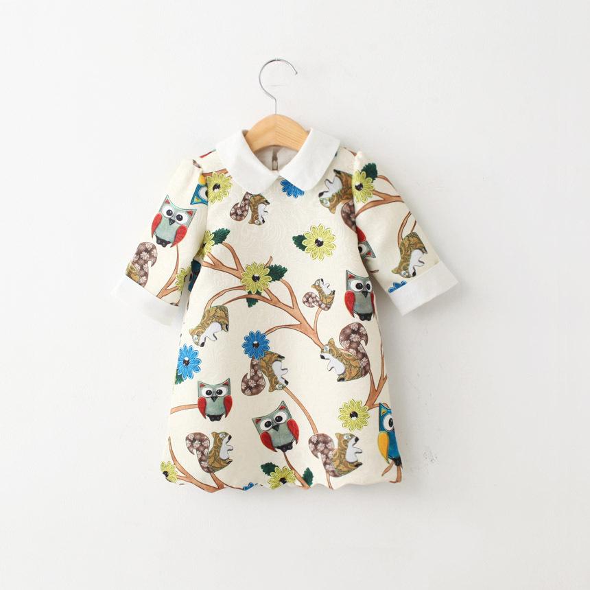 Платье белое с совами